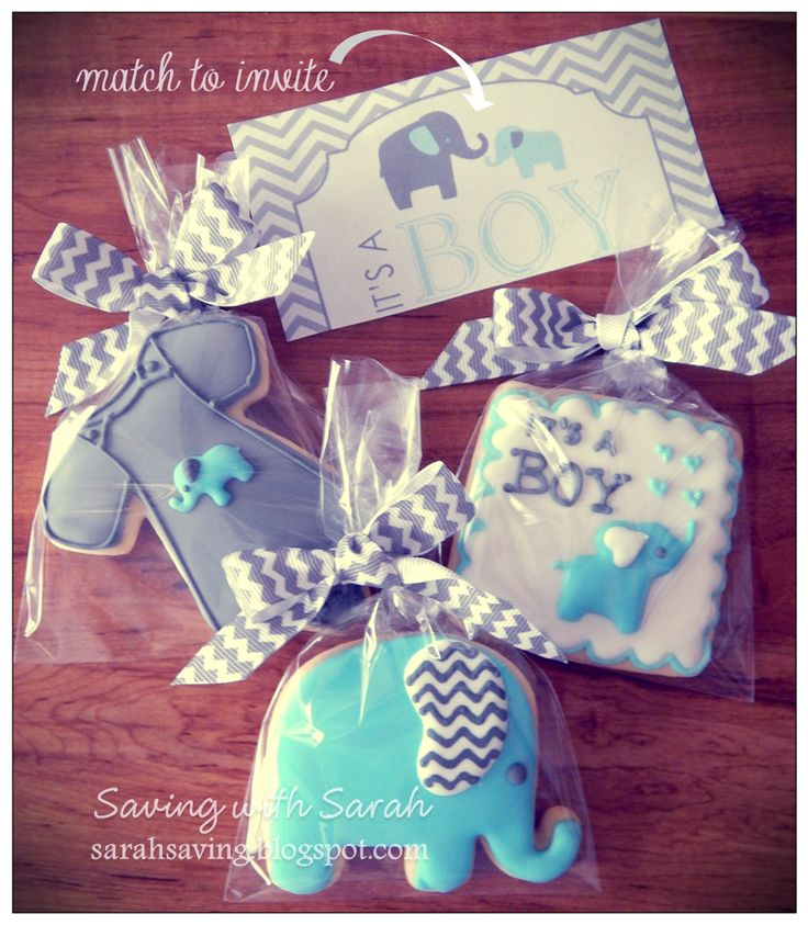 Baby Shower Cookies Chevron and Elephant Theme Baby Boy Shower Cookies #elephantcookies #babyshowercookies #babyshower #babyboycookies Decorated Cookies, chevron cookies, sugar cookies