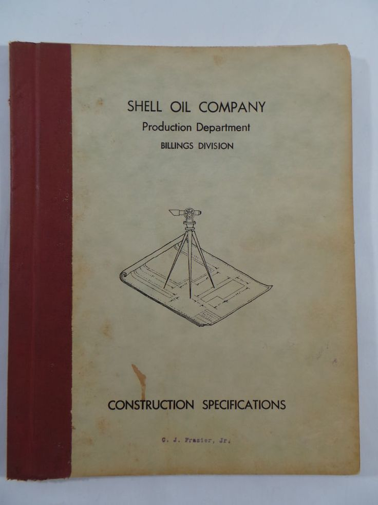1963 SHELL OIL COMPANY Production Billings Montana Construction Specifications