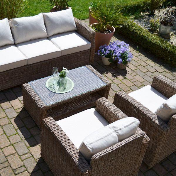 Lounge Gruppe Gotland Natur 3 Sitzer Sofa Plus 2 Sessel Und 1