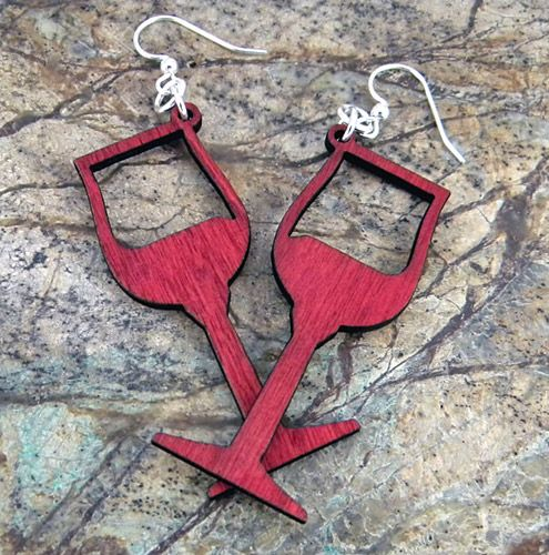 Wooden Wine Glass Earrings - Does mom like to drink wine? Well this will make the perfect gift!