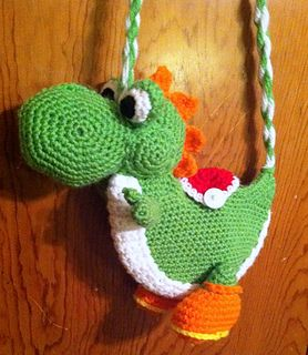 Make a fun Yoshi purse for your favorite gamer. Feel free to use any color combination you prefer.