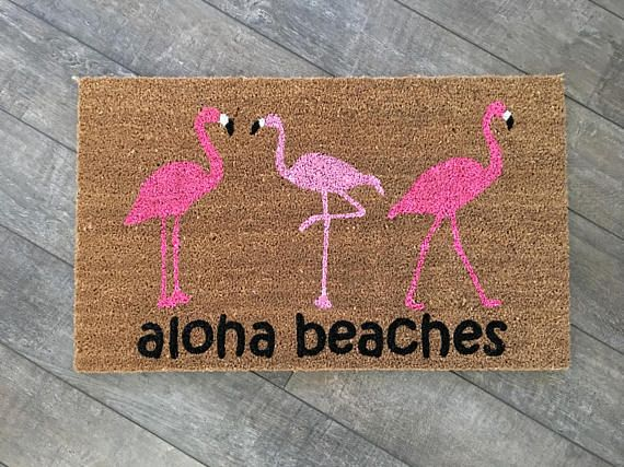 Aloha beaches flamingo doormat