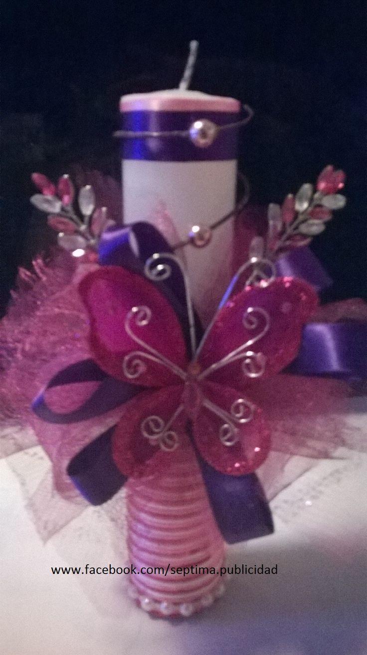 Veladora decorada para XV años  #bday #cumpleaños #diseño #publicidad #hechoenmexico #regalos #invitaciones #tarjetas #manualidades #artesanía #handmade #handcraft #hechoamano #card #gift #toppers #recuerdos #detalles #stikers #kids #birthday #party #invitations #favors #tampico #madero #altamira #enviosforaneo Séptima Diseño y Publicidad