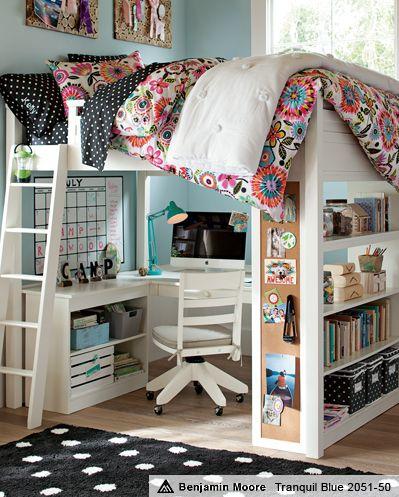 Bella Loft Bedroom | PBteen love it with the black polka dot sheets