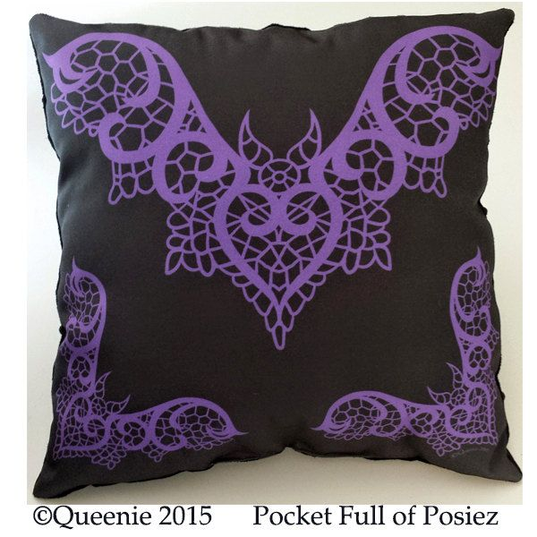 Lace Bat Design Purple Large Throw Pillow Soft Black Dot Pocket Full of Posiez by Posiez on Etsy