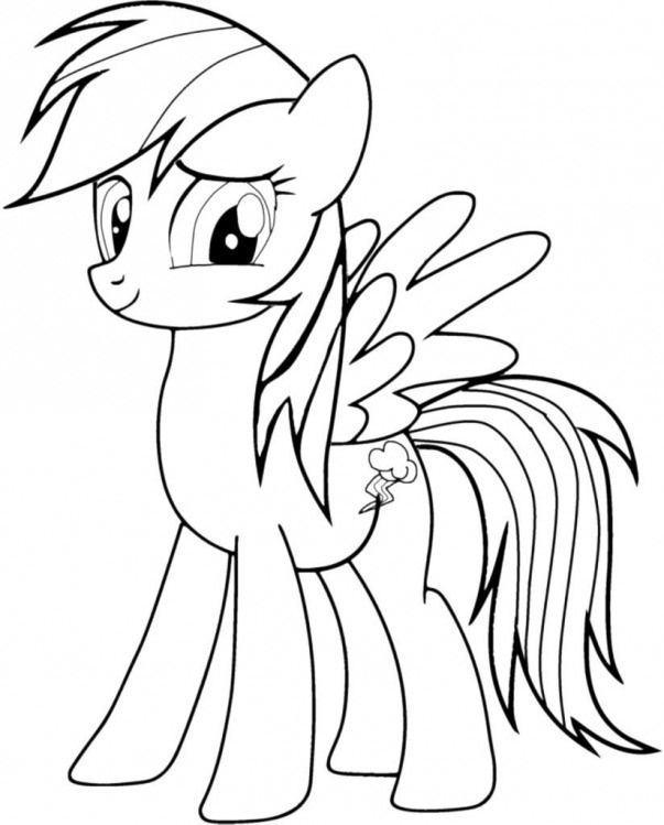Rainbow Dash Coloring Pages Free Kidswoodcrafts My Little Pony