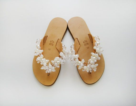 Handmade Sandals Bridal leather flip flops decorated by MyMarmade