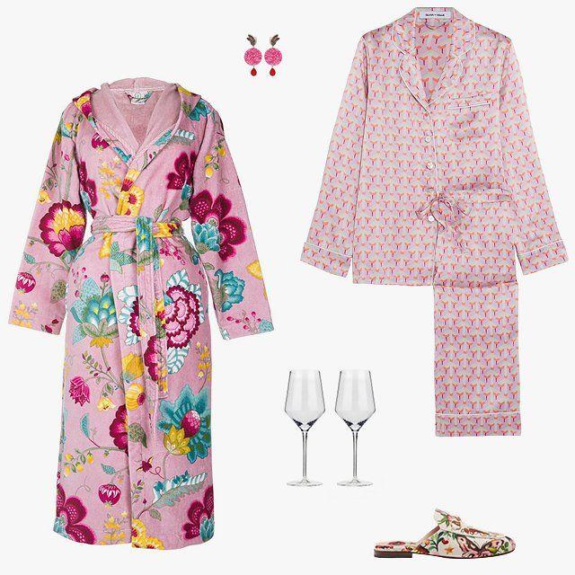 Michela Bruni Reichlin Dubai Butterfly earrings, $11,655, luisaviaroma.com; Olivia von Halle Lila printed silk-satin pajama set, $214, theoutnet.com; Viski Raye crystal Chardonnay pair, $24, fab.com; Gucci Garden Exclusive Princetown slipper, $695, gucci.com; Amara Floral Fantasy pink bathrobe, $144, us.amara.com