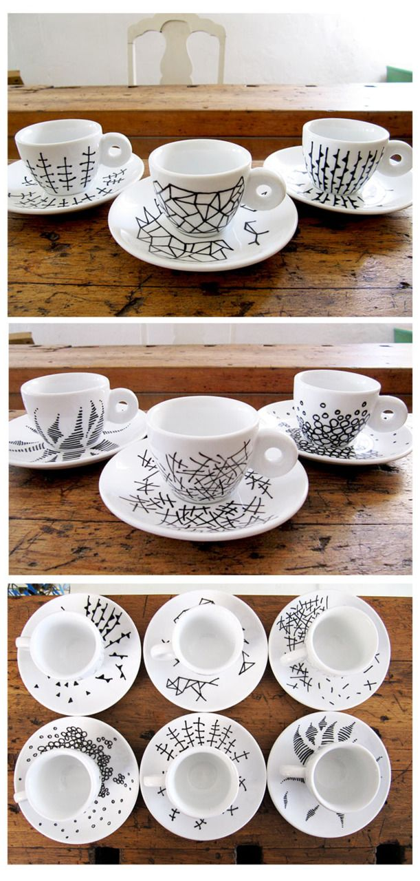 ***TamTam Designs Blog Black Porcelain Pen on white cups and saucers. Fun.