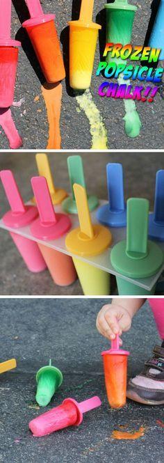 Frozen Popsicle Chalk | 16 DIY Summer Activities for Kids Outside | Fun Summer Ideas for Kids Outside Games