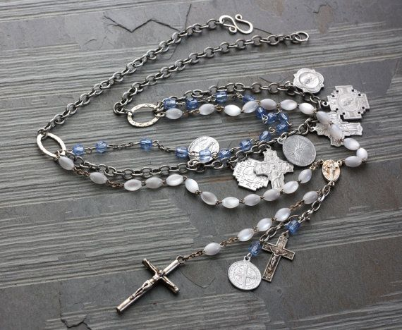 Rosary Necklace  Assemblage Jewelry  Saints Charm by FaithGiftz,