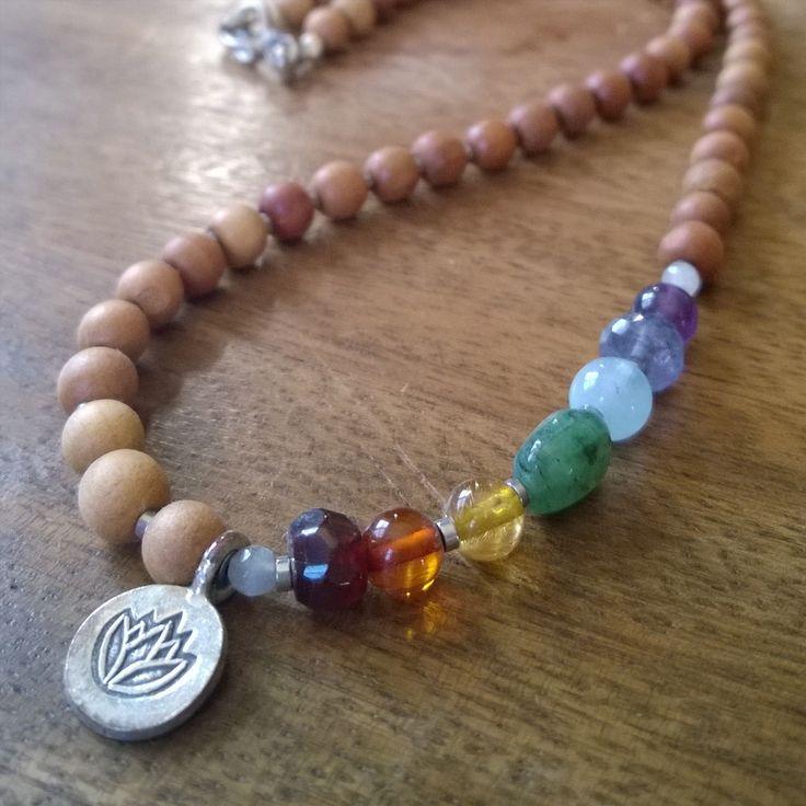 Sandalwood and gemstone chakra necklace