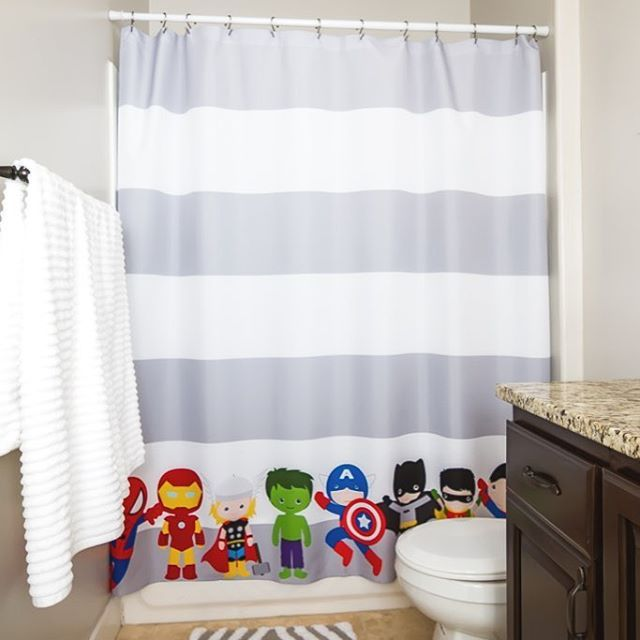 Gray White Stripe Superhero Shower Curtain