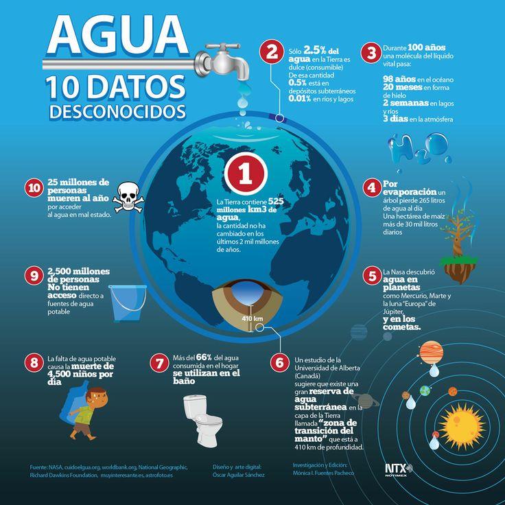 """10 datos que seguro no conoces sobre el agua. """"Día Mundial del Agua"""" #Infografia"""