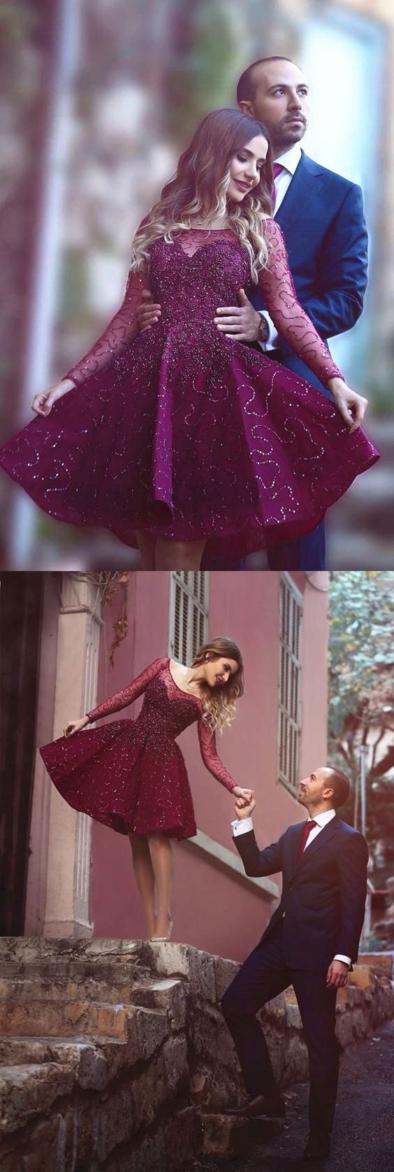 long sleeves prom dresses, short prom dresses, lace prom dresses, spring dresses, beaded prom dresses, fuchsia prom dresses, bateau prom dresses, aline prom dresses