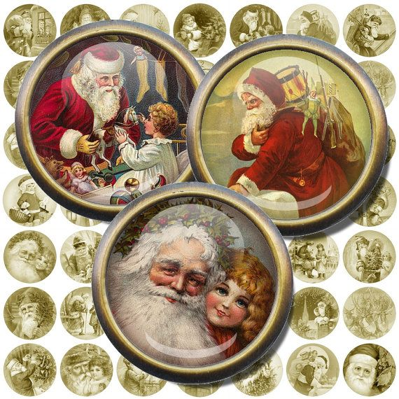 "Vintage Postcards, Santa Collage, 1.5"" , 1 inch Circles, Printable Santa Images, Round Christmas Printables, Instant Download, DIY Gift"