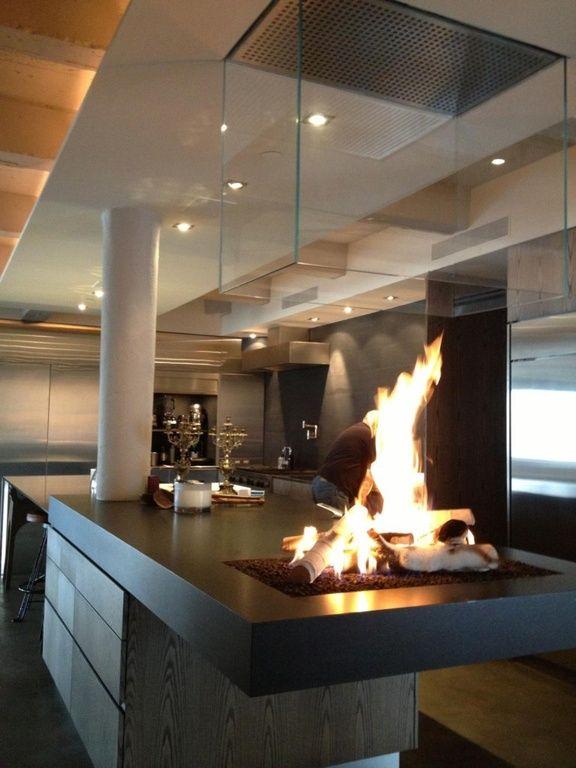 Conception de la cuisine contemporaine îlots de cuisine rénovation de cuisine designs de cuisine plan de travail lofts plafonds cheminée ouverte