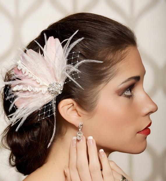 Ivory Blush Bridal Head Piece Feather Fascinator Bridal Hair Flower Stamen Rhinestone Wedding ...