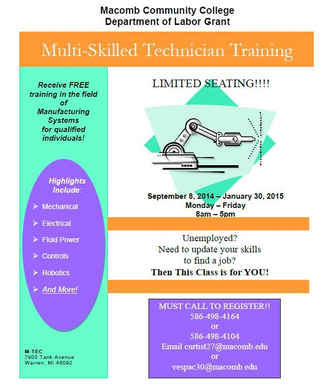 Macomb/St. Clair Michigan Works - TRAINING OPPORTUNITY- Macomb Community College: Multi -Skilled Technician Training