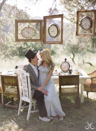Alice in wonderland wedding--this could be cute photo area, thrift store clocks and frames--maybe cake table?
