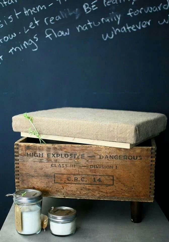 #upcycle #upcycled #woodencrate #vintagecrate  #crate #craft #countrybumpkin #DIY #burlap #decor #interiordecor #stool #footrest #storage #candles #masonjar #furniture #repurpose