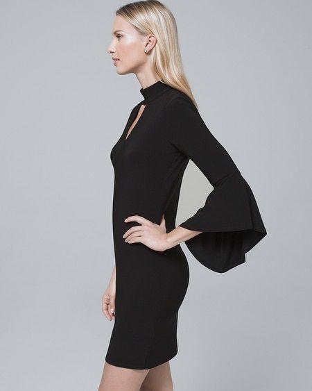 65aea25458d Women s Mock-Neck Black Knit Shift Dress by White House Black Market ...
