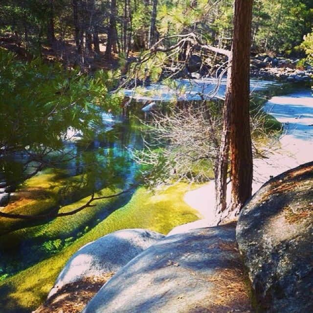 South Fork Of The Merced River From Swinging Bridge Trail In Wawona At Yosemite