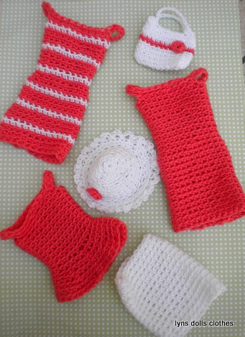 Barbies summer wardrobe made in 4ply cotton yarn.  A simple pattern using basic crochet stitches.  pattern on Ravely