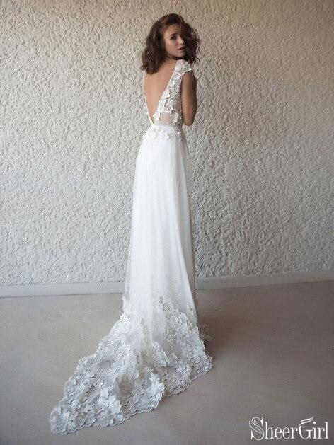 5ed6cbaab170 Ivory Cap Sleeve See Through Boho Wedding Dresses Beach Bridal Dress  AWD1415-SheerGirl