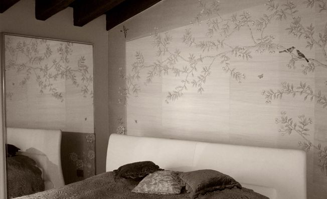 Modern chinoiserie 'Chinese Garden with Pheasants' design from Misha wallpaper, hand painted on Silver dyed silk.