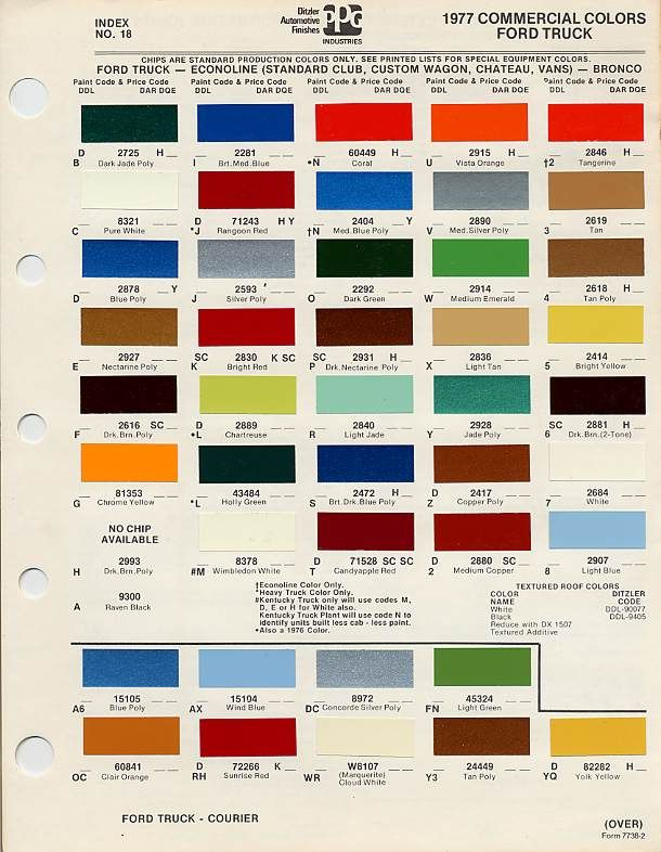 2006 Ford F 150 Color Chart