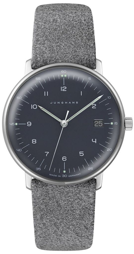 grey felt leather watch
