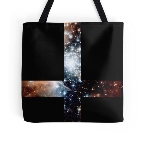 Red Galaxy Inverted Cross Tote Bag - Available Here: http://www.redbubble.com/people/rapplatt/works/9095436-red-galaxy-inverted-cross?p=tote-bag