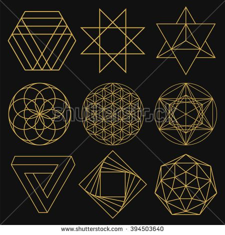 Sacred Geometry. Set of figures with sacred symbols and elements. Vector illustration. Mystical and esoteric forms: Flower of Life, Merkaba, Penrose triangle, pentagram, octagram. Spiritual logo. - stock vector