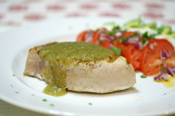 Swordfish with Salsa Verde and Ensalada la Bandera Mexicana (Mexican Flag Salad)