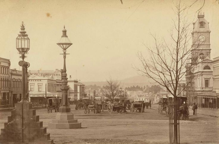 Sturt St,Ballarat in Victoria looking east,from Doveton St (year unknown).
