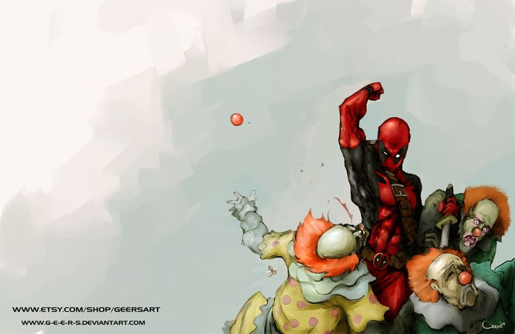 Deadpool and clowns by Darren Lim Geers