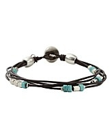 Fossil Leather and Bead Bracelet: Fossil Leather
