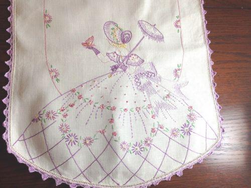 Vintage Hand Embroidered Floral Table Runner Lavender With Hand Crochet Edge Hem