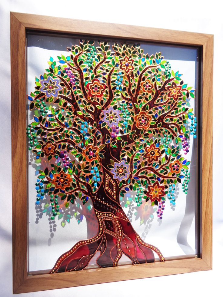 Tree of life art 15 x12 glass painting original painting for How to do glass painting at home