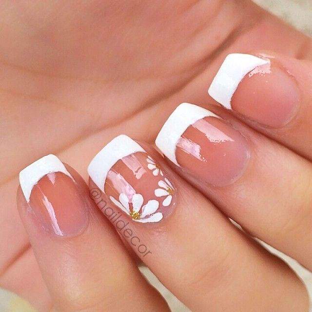 French manicure with floral accent finger