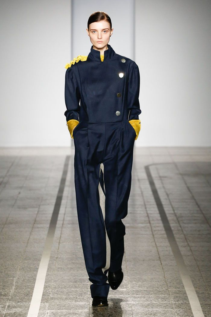 Mila Schön - look 21  THE LIFT BOY – Jumpsuit in irregular dyed vicuna with gilded quilting ornament.
