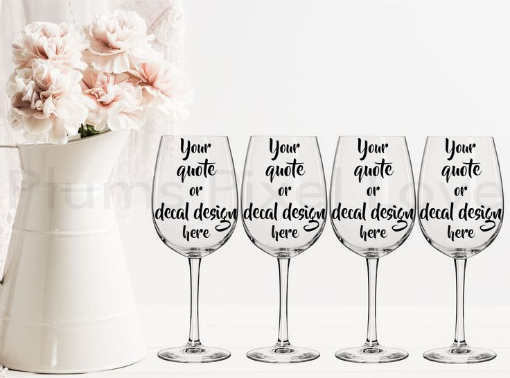 4 Wine Glasses Mockup, Styled Stock wine glass Image, Mock up wine glasses for Decals, stickers or engraving, Digital file, mock-up by plumspixellove on Etsy