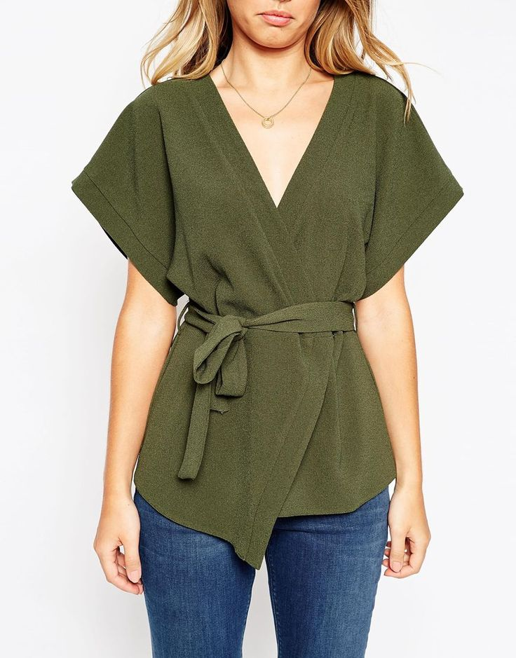 l like how this top is a wrap but also different than the average --Image 3 of ASOS Obi Band Wrap Blouse