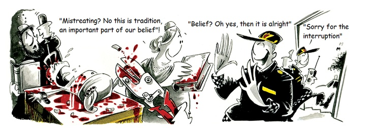 """Caption""""This cartoon in Norway's 3rd largest paper has many Jewish  people up in arms it  depicts circumcision as a gory operation.""""More like mutilation."""