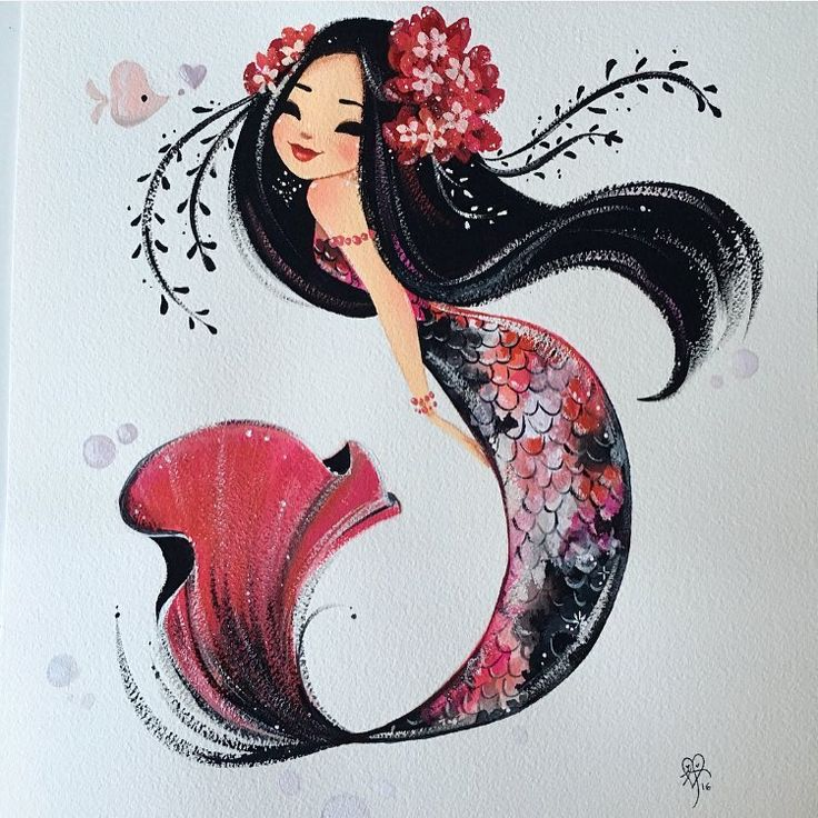 A change from my usual minis. This koi measures 11x14 inches-painted with gouache on Arches watercolor paper. DM. me for purchase details. :) #gouache #mermaid #koi
