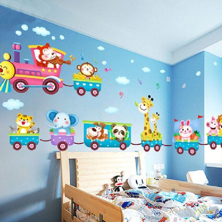 Superb Safari Tiere Zug Wandaufkleber Kinderzimmer Dekor Baby Kunst Wandbild Abnehmbar