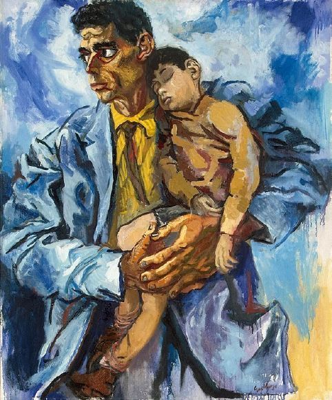 #oil #painting - Self Portrait with His Son by Renato Guttuso