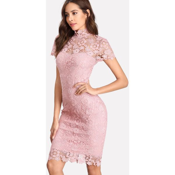 SheIn(sheinside) Open Back Guipure Lace Overlay Dress ($24) ❤ liked on Polyvore featuring dresses, pink, short-sleeve dresses, pink pencil dress, backless dress, short sleeve sheath dress and party dresses