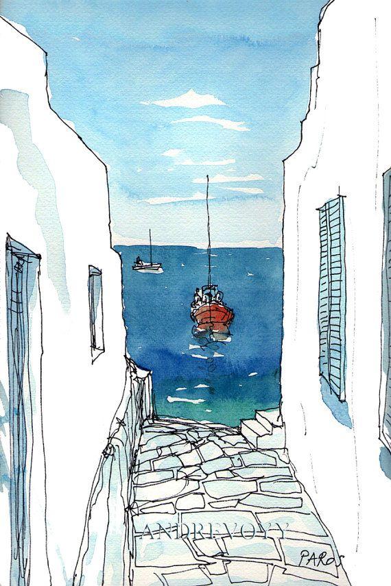 Impresión de un Acuarela original de arte Paros barco 2 Grecia